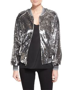 Sequined+Bomber+Jacket+W/Striped+Trim,+Silver+by+Libertine+at+Neiman+Marcus.