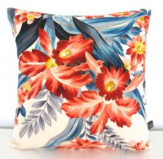 Lush Hand Painted Decorative Pillow Cushion in a Bold Floral on Cream made in London from Vintage Japanese Kimono Silk NEW LTD EDITION of 2