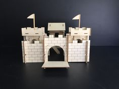 """Laser Cut Modular Wooden Castle. Screen Printed. 14"""" Tall."""