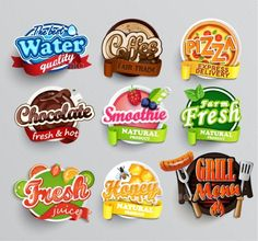Set of stickers of food ¨C farm fresh and pizza, fresh juice and grill, water and chocolate, coffee and smoothie, honey . Food Logo Design, Logo Food, Menu Design, Label Design, Fruit Logo, Food Packaging, Packaging Design, Branding Design, Splash Vector