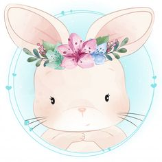 Cute bunny with floral portrait Vector . Baby Animal Drawings, Cute Drawings, Bunny Art, Cute Bunny, Cute Images, Cute Pictures, Vintage Clipart, Cute Illustration, Animal Paintings