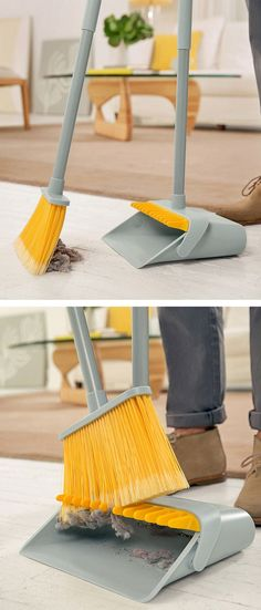 Dustpan with brush cleaner - so smart! I need this with as much as my dogs shed Mansion Kitchen, Home Organization, Organization Station, Organizing, Making Life Easier, Home Hacks, Cool Gadgets, Household Items, Kitchen Gadgets