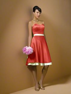 This is my top dress choice.  Love it!  With persimmon dress and espresso accents