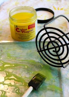 Art journal, mixed media inspiration. Potato masher and Gelli Arts Printing Plate