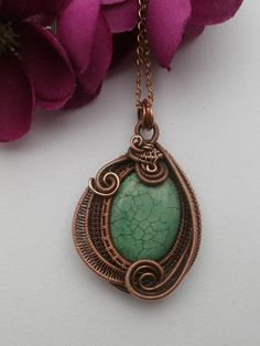 SOLD! Wire Wrapped Turquoise Pendant Necklace in by PerfectlyTwisted