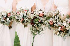 The formula for these textural bouquets: protea, eucalyptus, peonies + spirea. Mumu Wedding, Floral Wedding, Wedding Bouquets, Wedding Flowers, Green Wedding, Wedding Shoes, Bridal Table, Wedding Tables, Protea Bouquet