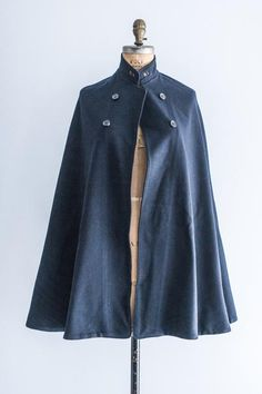 Military Wool Cape with Red Lining