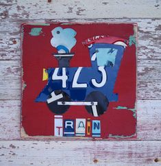 License Plate Art  Navy Red Funky Transportation by recycledartco, $45.00