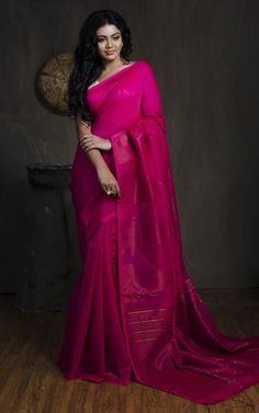 6b64e296 Khadi Soft Cotton Silk Temple Border Saree in Hot Pink Hot Pink Blouses,  Red Blouses