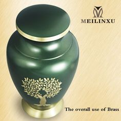 Funeral Urn by MeilinxuCremation Urn for Human Ashes Adult and Memorial Brass with Hand Engraved Design Display Burial Urn At Home or in Niche at Columbarium Gold Tree of Life and Green Large Urn >>> Read more at the image link. #DecorativeAccessories