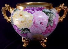 Vintage Limoges Jardiniere Planter Pot Double Handled Footed