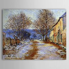 Famous Oil Painting A Snow Effect at Limetz by Claude Monet - USD $ 79.99