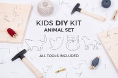 Kids DIY educational string art kit. This toy develops your kids skills & is a creative toy to spend more time together. Perfect toy & gift for 5+ years old kid! We made it simple to use so that the kid can do as much as possible by himself.  - Special hammer to fit child - Soft wood for