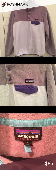 Patagonia Synchilla Snap-T Fleece Pullover Comfy Patagonia pullover worn less than 5 times and purchased in winter 2015. Super cute color combo of light grey and purple. Patagonia Other