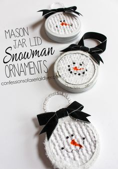 Mason Jar Lid Snowman Ornaments is part of Christmas crafts Snowman - Simple and easy mason jar lid snowman ornaments are the perfect handmade ornament to make this holiday season Snowman Crafts, Snowman Ornaments, Handmade Ornaments, Diy Christmas Ornaments, Christmas Projects, Kids Christmas, Holiday Crafts, Christmas Decorations, Christmas Snowman