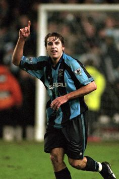 Darren Huckerby celebrating his last minute winner in the triumph over Manchester United at Highfield Road in December Scored 28 goals in 97 appearances for the club before being transferred to Leeds United Leeds United, Manchester United, Chelsea United, Coventry City Fc, Blue Army, Football Players, Blues, December, The Unit