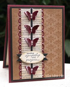 Sympathy Card Natural Composition DSP, Bloomin Marvelous SAB stamp set, Petite Pairs stamp set, Scallop Trim Border Punch, Bitty Butterfly Punch, Stampin' Anne