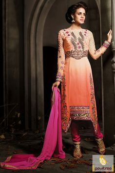 Captivating orange and peach embroidery salwar suit is looking beautiful with nice and heavy embroioidery works, cuts and butti on the both sides of attire.  http://www.pavitraa.in/blog/holi-festival-special-designer-sarees-salwar-suits-collection-2015/