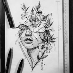flowers line art simple \ flowers line art ; flowers line art tattoo ; flowers line art ink drawings ; flowers line art simple Cool Art Drawings, Pencil Art Drawings, Art Drawings Sketches, Sketch Art, Tattoo Drawings, Tattoo Sketches, Flower Sketches, Drawing Tips, Belle Drawing