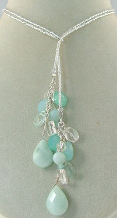 4cd1a4338f966 Chalcedony and Opalite Gemstone Lariat Necklace Lariat Necklace is  handcrafted with silver tone lined seed beads