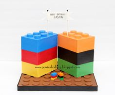 Jessicakes - Lego cake for her son's birthday.  Inspiration for part of Jason's cake....and good  modeling chocolate practice for me!