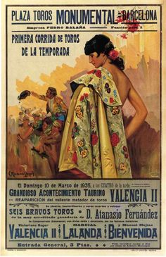 Shop Vintage Bullfighting Poster, Barcelona Poster created by yesterdaysgirl. Abstract Canvas, Abstract Print, Vintage Advertisements, Vintage Ads, Vintage Cartoons, Spain Culture, Vintage Travel Posters, Modern Artwork, Letterpress
