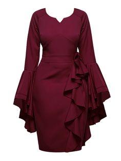 Fuchsia Bell Sleeve Falbala Women's Bodycon Dress