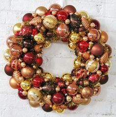 Autumn Wreath, Copper,  Bronze, Gold Christmas Ornaments Wreath. $160.00, via Etsy.