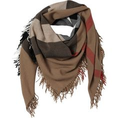 BURBERRY Check Extra Fine Merino Wool Scarf found on Polyvore featuring accessories, scarves, burberry, brown, brown shawl, merino wool shawl, burberry scarves and brown scarves