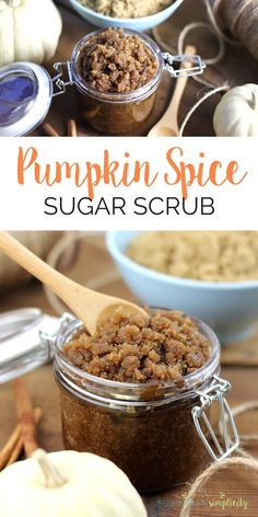 This easy Pumpkin Spice Sugar Scrub Recipe is a must make DIY! Not only does it smell amazing, it smooths and exfoliates your skin for pennies. Exfoliating Body Scrub, Diy Body Scrub, Face Scrub Homemade, Diy Scrub, Homemade Gifts, Homemade Beauty, Hand Scrub, Sugar Scrub Recipe, Sugar Scrub Diy