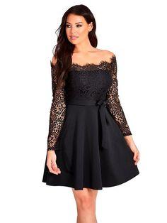 Lovely Lace Off the shoulder Long sleeve black skater dress Sexy Dresses, Evening Dresses, Prom Dresses, Formal Dresses, Jessica Wright Dresses, Homcoming Dresses, Skater Dress, Homecoming, Party Dress