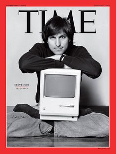 photo is of Steve Jobs. Steve Jobs was a cofounder of apple, one of the biggest technology companies in America. In the photo, he is holding one of the first macintosh computers which was very significant to the Steve Jobs Apple, Apple Inc, We Are The World, Change The World, Tim Cook, Time Magazine, Magazine Covers, Short Inspirational Quotes, Twiggy