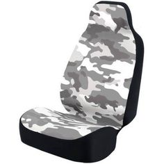 Coverking Universal Seat Cover Fashion Print, Ultra Suede, Camo White and Grey Background with Black Interlock Backing, Gray