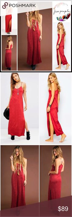 "FREE PEOPLE JERSEY Dress Maxi Slip Dress RETAIL: $98 💟 NEW WITH TAGS 💟 FREE PEOPLE JERSEY Dress Maxi Slip Dress                                                                  * A relaxed silhouette * Lightweight & super soft fabric * Thin Tank straps, scoop neck, side slit * Approx 50"" long * Pullover style  Fabric: Polyester, 7% spandex Item: Color: Berry #   SEARCH # semi pleated she moves silk 🚫No Trades🚫 ✅ Offers Considered*/Bundle Discounts✅ *Please use the blue 'offer' button to…"