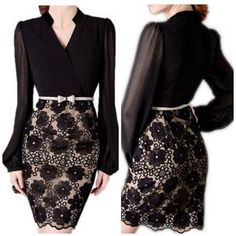 Long Sleeve Black Floral Print Lace Dress $20 | Closet of | Get FREE Samples by Mail | Free Stuff