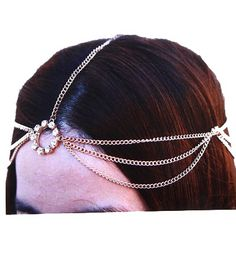 Goldtone Head Chain Hair Band w Clear Crystals Hair Accessory (Style UR-IHC1001-GLD) * Read more at the image link.