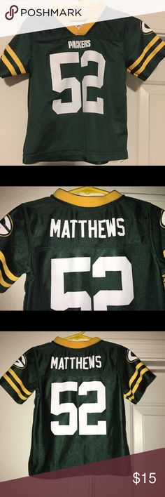 Toddler Green Bay Packers Clay Matthews Jersey Thank you for viewing my listing, for sale is a NFL, Green Bay Packers, clay Matthews, toddler jersey. The size is 3T  There is a little wear and tear on the Jersey if you can see in the numbers from the photos provided. But overall this jersey still has hours of football fun for your little one to wear while supporting the packers.  If you have any questions or would like additional photos please feel free to ask NFL Shirts & Tops