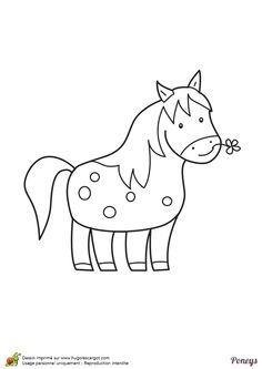 Dessin à colorier d'un poney tenant une fleur avec son museau