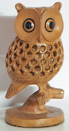 Intricately Wood Carved Owl Within Owl (Wood)