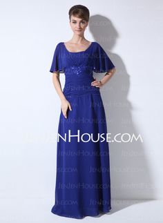 Mother of the Bride Dresses - $126.99 - Sheath Scoop Neck Floor-Length Chiffon Mother of the Bride Dress With Ruffle Lace Beading (008003502) http://jenjenhouse.com/Sheath-Scoop-Neck-Floor-Length-Chiffon-Mother-Of-The-Bride-Dress-With-Ruffle-Lace-Beading-008003502-g3502