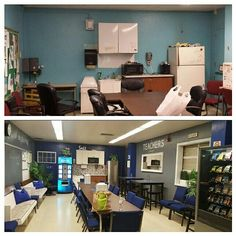 Before & After 1 Surprise Teachers' Lounge Makeover! As a parting gift, Retiring Teacher and her family transform teachers' lounge at a NYC Bronx School. ALL ITEMS ADDED TO THE ROOM ARE 2ND HAND! Teacher Office, School Office, Teacher Lounge, School Staff, School Classroom, Teacher Stuff, Middle School, Teacher Morale, Staff Morale