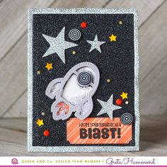 How To Make Easy Shaker Cards! Check out how easy it is with the Space Shaped Shaker Kit from Queen and Company. I Hope Your Birthday is a Blast! 1st Boy Birthday, It's Your Birthday, Birthday Cards, Boy Cards, Kids Cards, Rainbow Metal, Mason Jar Cards, Shaker Cards, Card Sketches