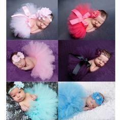 Newborn Baby Girls Flower Headband Mesh Ball Gown Tutu Skirts Photography Accessory Prop
