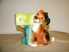 Royal Copley Ceramic Dog and Mailbox Planter