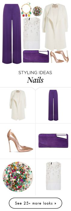 """""""White + Purple"""" by cherieaustin on Polyvore featuring Casadei, COSTUME NATIONAL, WearAll, Burberry, Louis Vuitton and Deborah Lippmann"""