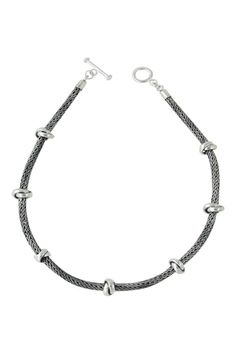 """Sterling Silver oxidized necklace with double knot elements. Striking and bold.    Measures: 18"""" L with 0.25"""" W   Handwoven Necklace With Knots Accessories - Jewelry - Necklaces San Francisco"""