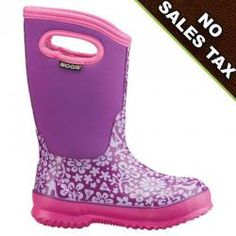 Kid's need waterproof boots, snow boots, rain boots and mud boots. Why not make it easy this year when shopping for kid's boots. Shop for BOGS Kid's Boots  like the Classic Sprout Pink Purple boot. 100% waterproof with easy pull on handles and a super cute design.