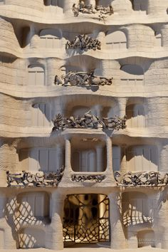 La pedrera miniature Model. Gaudi's nature inspired designs are apparent in every inch of the building! From the outside, you'll notice the leaf like wrought iron designs decorating the balconies, windows and doors, almost like vines hugging the building.