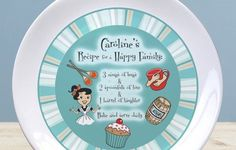 Treat someone in your life to this adorable retro personalised plate.  Take a step back in time with our gorgeous plate, which features a lovely 'Recipe for a Happy Family' on the front, reading: '3 mugs of hugs & 2 spoonfuls of love & 1 barrel of laughter'. A great motto to keep everyone feeling happy and upbeat in the kitchen!