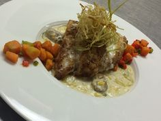 Cajun dusted grouper, corn & oyster chowder, sweet potato pepper hash, fried leeks